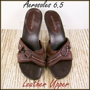 6.5 Aerosoles Leather Upper Open Toe Sandals